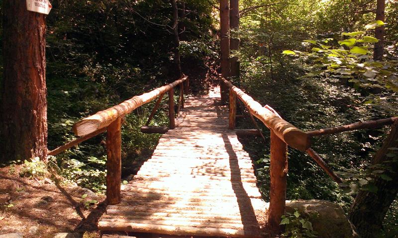 Водопад Горица - дървеното мостче преди водопада