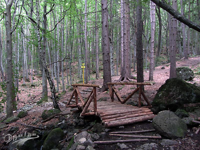 По пътеката - дървено мостче