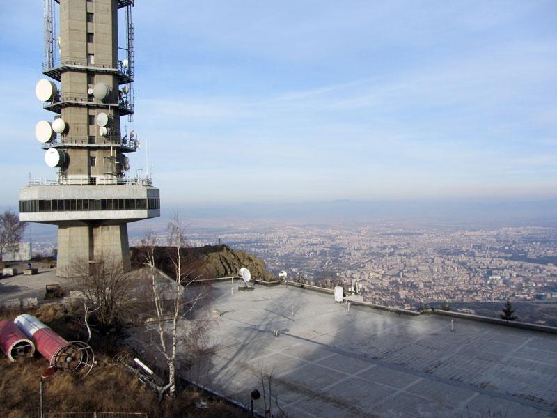 Панорамна гледка към София от Копитото на Витоша