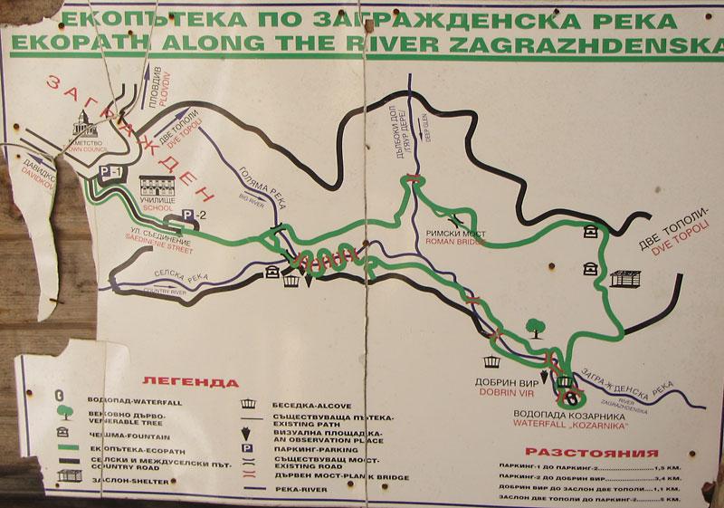 Карта на екопътеката - в една беседка в началната част на пътеката