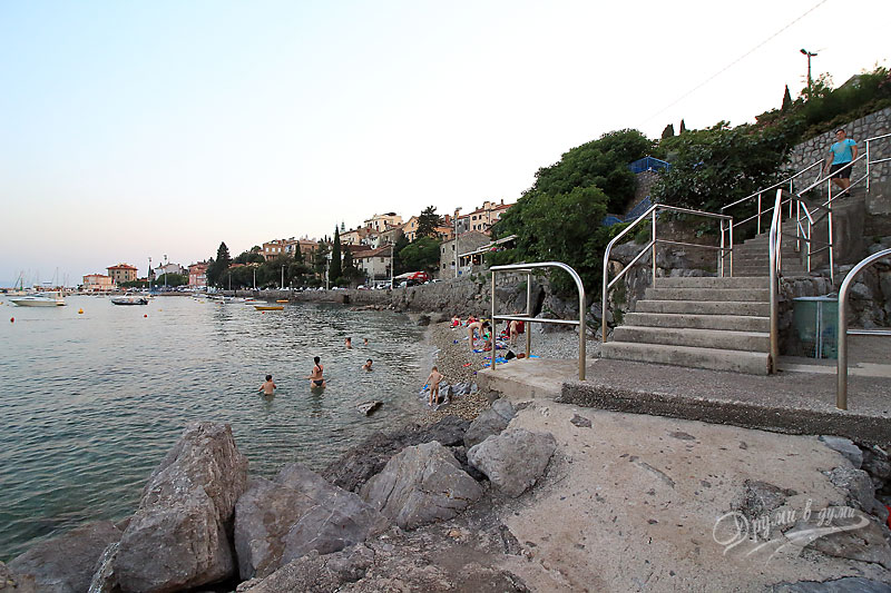 On a beach in Opatija
