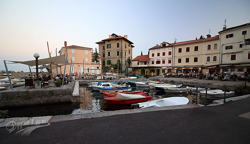 On the seafront promenade in Opatija: the harbor