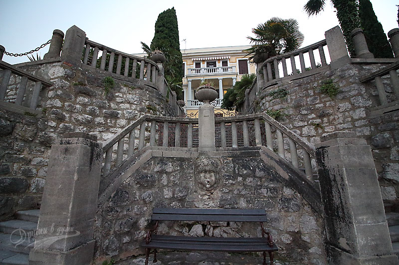 Walk on the promenade in Opatija: the houses