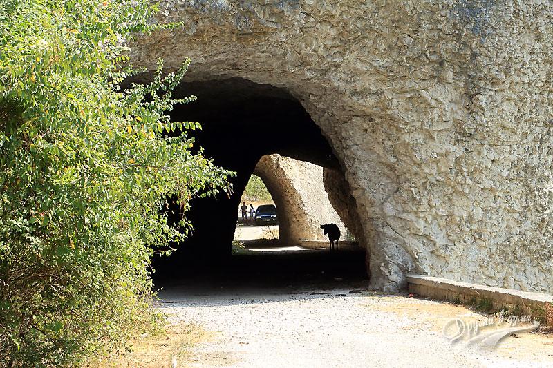 Чудните скали: тунелите през скалите - проход за коли ... и крави :-)