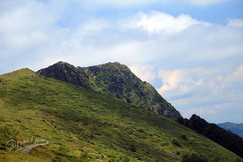 Гледка към скалния ръб Коза стена от началната част на маршрута