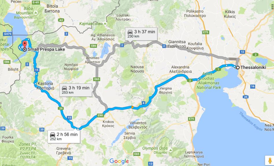 Маршрути от Солун до остров Свети Ахил