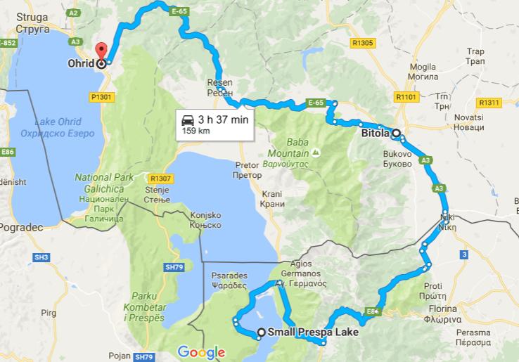 Маршрут от Охрид и Битоля до остров Свети Ахил