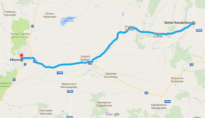 Карта: как се стига от Елхово до Стефан Караджово