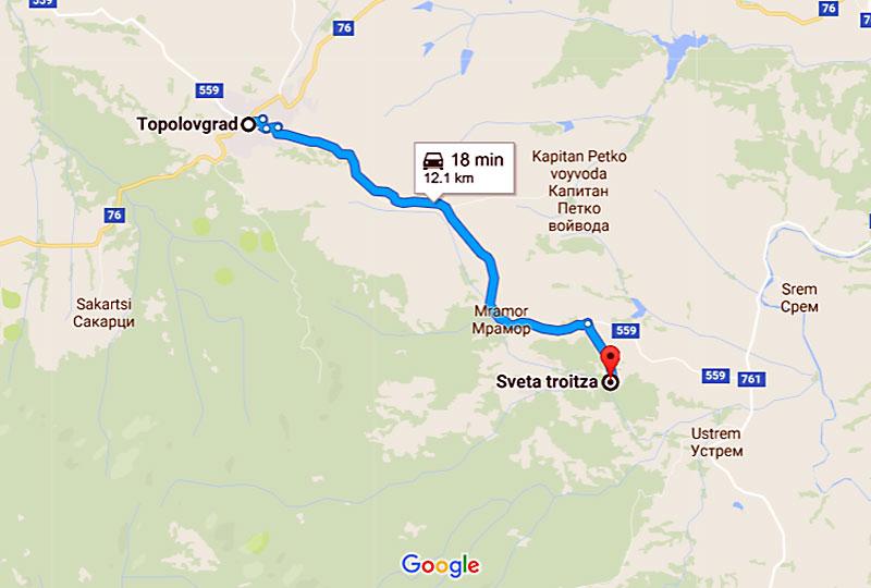 Карта: Тополовград - Устремски манастир