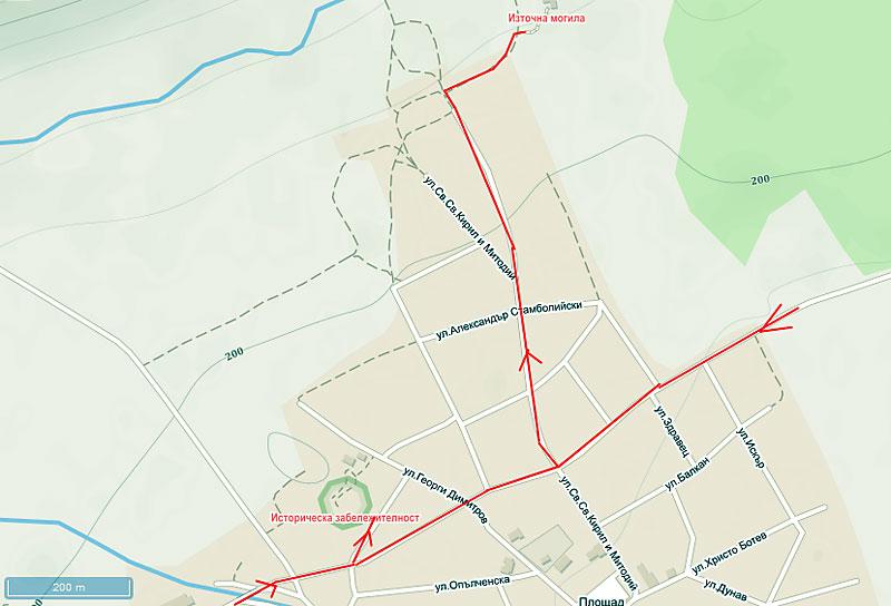 Село Караново - карта на маршрута до двете могили