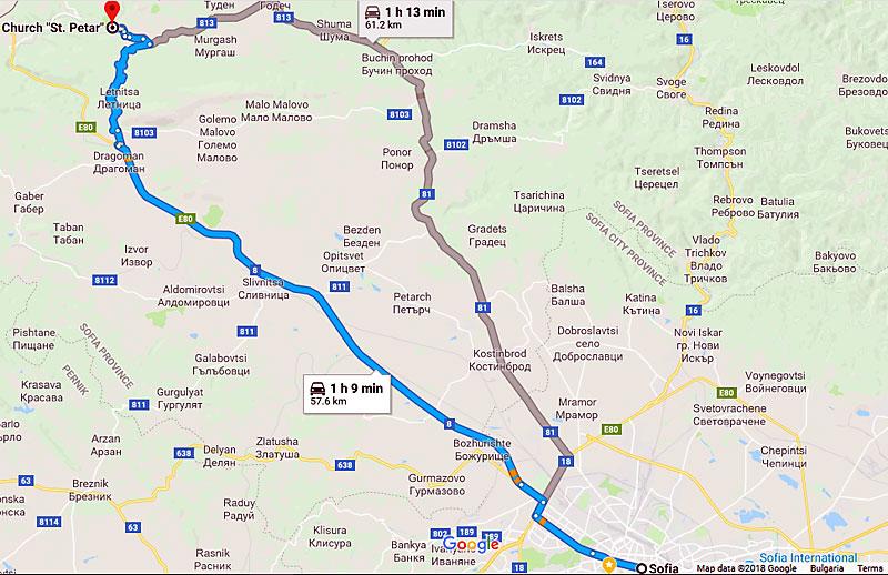 Карта на маршрута от София до с. Беренде