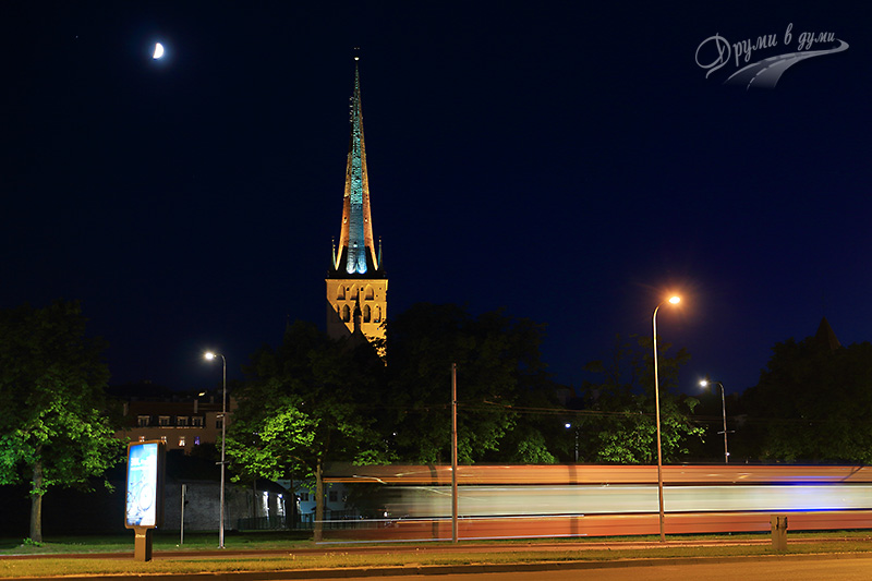The Church of St. Olaf and the moon
