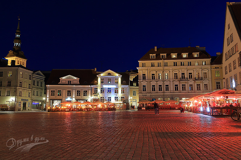 The central square in late summer evening
