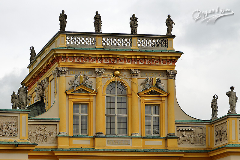Wilanow palace and the interesting statues on top of it