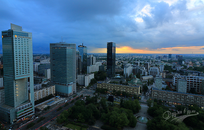 Palace of Culture and Science: panorama at sunset time