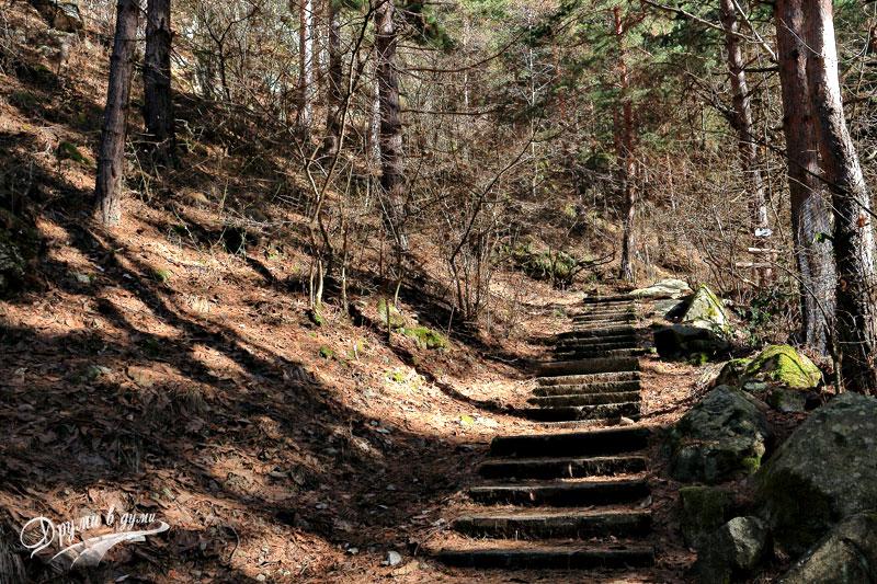 Goritsa Waterfall - stone stairs along the eco path