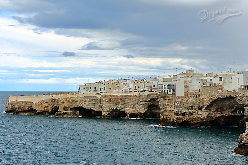 Polignano a Mare and the cave restaurant - look at the cave on the right side