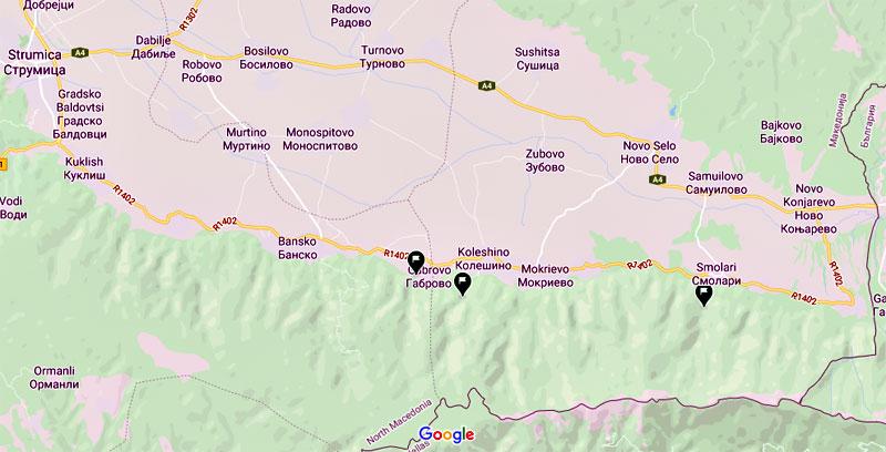 Карта - начални точки на маршрутите