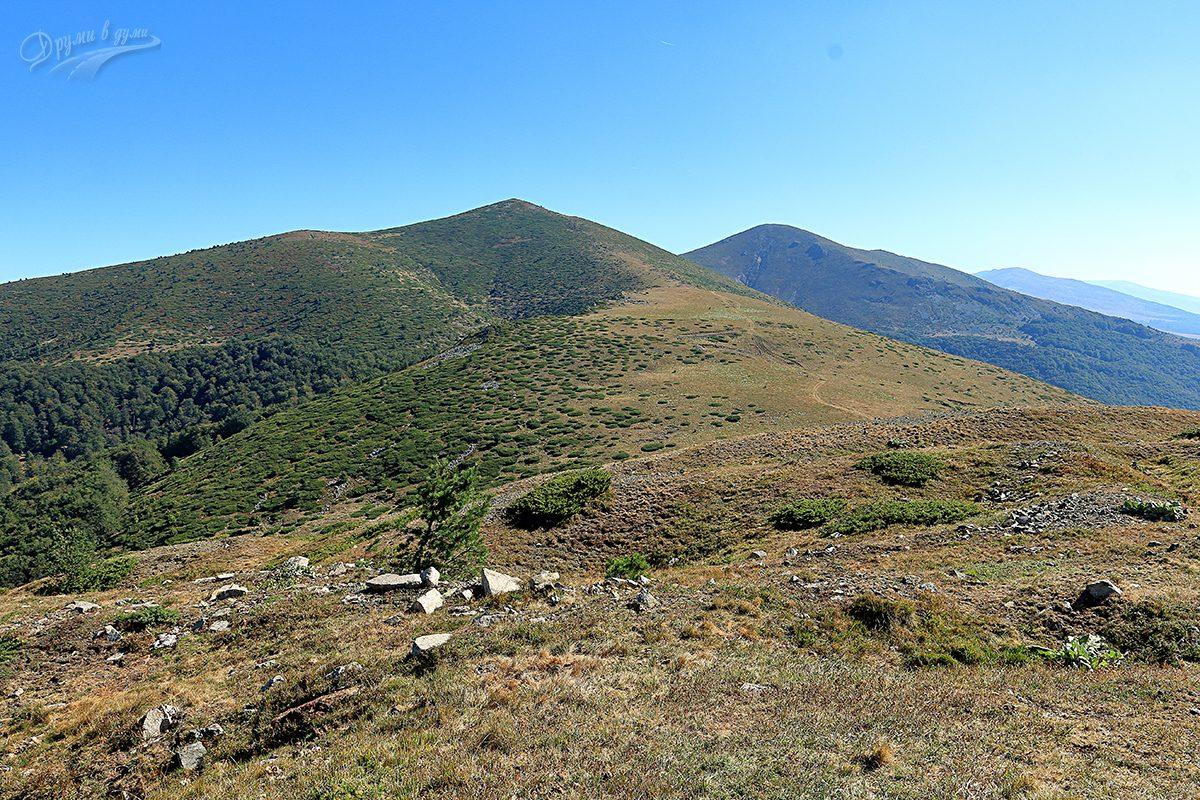 Поглед напред към целта връх Свищиплаз - на втори план вдясно, пред него е връх Курдуна.